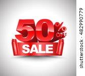 3d vector shiny red discount 50 ... | Shutterstock .eps vector #482990779