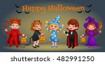 happy halloween. set of cute... | Shutterstock .eps vector #482991250