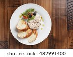 rabbit pate with salad and... | Shutterstock . vector #482991400