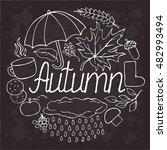 autumn set vector doodle sketch.... | Shutterstock .eps vector #482993494