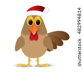 rooster in santa hat isolated... | Shutterstock .eps vector #482994814