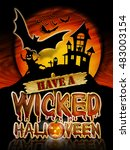 have a wicked halloween chrome... | Shutterstock . vector #483003154