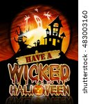 have a wicked halloween chrome... | Shutterstock . vector #483003160