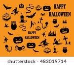 happy halloween background with ... | Shutterstock .eps vector #483019714