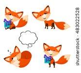 cute cartoon foxes set. funny... | Shutterstock .eps vector #483022528