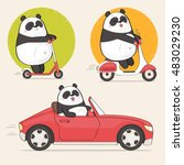 set of a panda bear stickers... | Shutterstock .eps vector #483029230