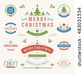 christmas labels and badges... | Shutterstock .eps vector #483031534