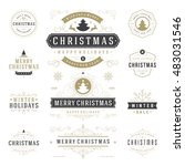 christmas labels and badges... | Shutterstock .eps vector #483031546