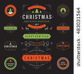 christmas labels and badges... | Shutterstock .eps vector #483031564
