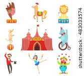 circus performance objects and... | Shutterstock .eps vector #483033574