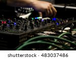 the dj uses the mixer to create ... | Shutterstock . vector #483037486