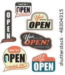 worn out open store signs retro ... | Shutterstock . vector #48304315