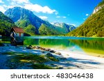 small building at a beautiful... | Shutterstock . vector #483046438