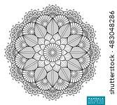 flower mandala. vintage... | Shutterstock .eps vector #483048286