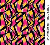 ikat seamless pattern design... | Shutterstock . vector #483053878