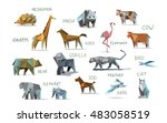 vector set of different animals ... | Shutterstock .eps vector #483058519