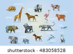 Stock vector vector set of different animals polygonal icons low poly illustration cow bear dog cat 483058528