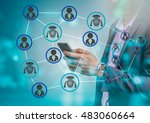 chatbot concept. robot and man... | Shutterstock . vector #483060664