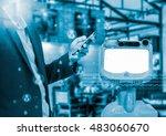 chatbot concept. social media... | Shutterstock . vector #483060670