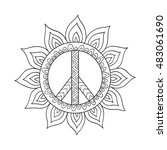hippie vintage peace symbol in...