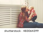 happy family mother and baby...   Shutterstock . vector #483064399