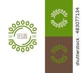 icon or logo template for vegan ... | Shutterstock .eps vector #483077134