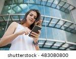 young beautiful women a... | Shutterstock . vector #483080800