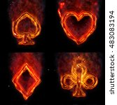 fire card suits   Shutterstock . vector #483083194