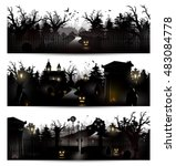 vector set of three halloween... | Shutterstock .eps vector #483084778