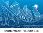 big bridge  night city on... | Shutterstock .eps vector #483085318