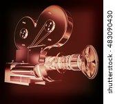 old camera. 3d render. 3d... | Shutterstock . vector #483090430