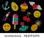 set of cute fashion patch icons ... | Shutterstock .eps vector #483093394