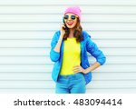 fashion happy cool smiling girl ... | Shutterstock . vector #483094414