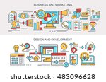 flat vector banners. business... | Shutterstock .eps vector #483096628