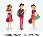 vector  people with gadgets and ... | Shutterstock .eps vector #483096790