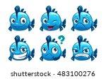 funny cartoon blue fish... | Shutterstock .eps vector #483100276