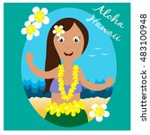 hawaiian cards with hula pretty ... | Shutterstock .eps vector #483100948
