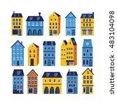 cute city set | Shutterstock .eps vector #483104098