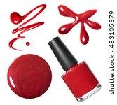 Red Nail Polish Set Isolated O...