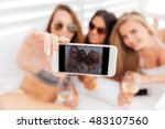 three young smiling happy girls ... | Shutterstock . vector #483107560