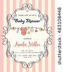 delicate baby girl shower card  ...   Shutterstock .eps vector #483108448