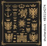 mega pack of heraldic elements... | Shutterstock .eps vector #483114274