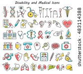 disability and medical icons... | Shutterstock .eps vector #483114388