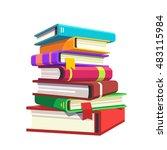 pile of hardcover books. stack... | Shutterstock .eps vector #483115984