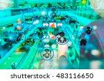 chatbot concept. robot  man ... | Shutterstock . vector #483116650