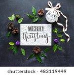 merry christmas background.... | Shutterstock . vector #483119449