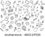 monochrome school children... | Shutterstock . vector #483119530