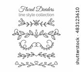 flourishes. hand drawn dividers ... | Shutterstock .eps vector #483123610