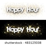 happy hour paper banner with... | Shutterstock .eps vector #483125038