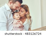 smiling mother and father... | Shutterstock . vector #483126724